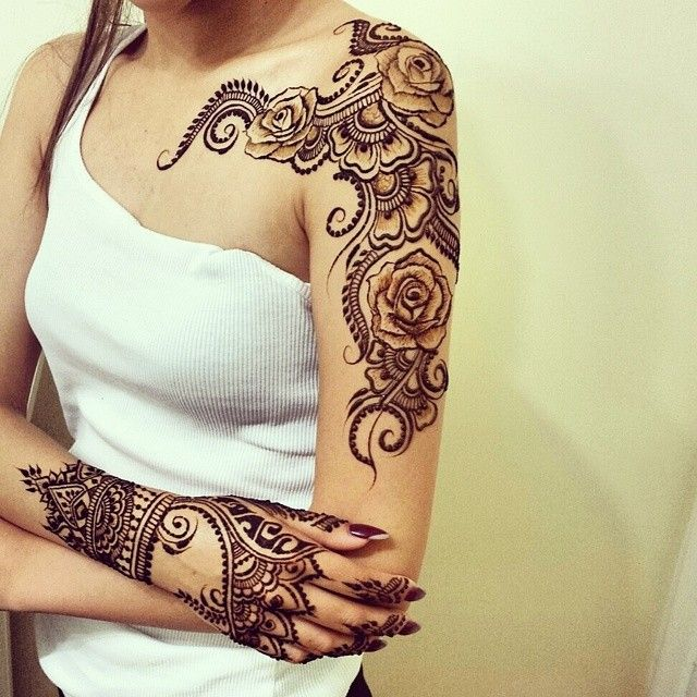 Gorgeous Rose Design Shoulder & Back Of Hand #Henna By Divya.