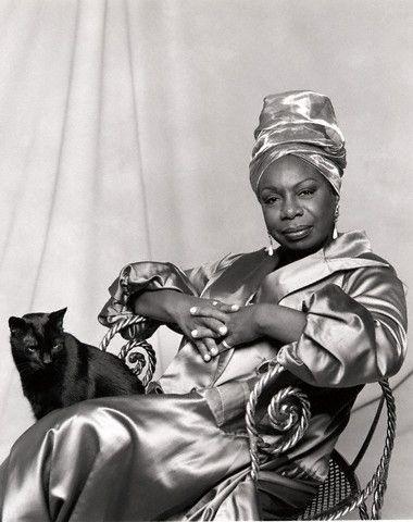 Nina Simone and her cat.