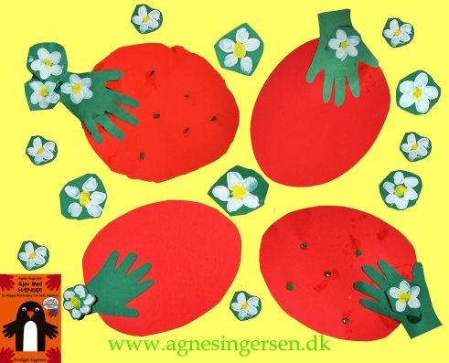 Jordbærrene har min søde dagplejebørn lavet til deres far på fars dag i år. Jordbærret er inspireret af jordbærret fra min først bog Sjov Med Hænder fra 2005 :) http://agnesingersen.dk/blog/jordbaerfar/ Easy kids crafts handprint - Kinderbastelideen