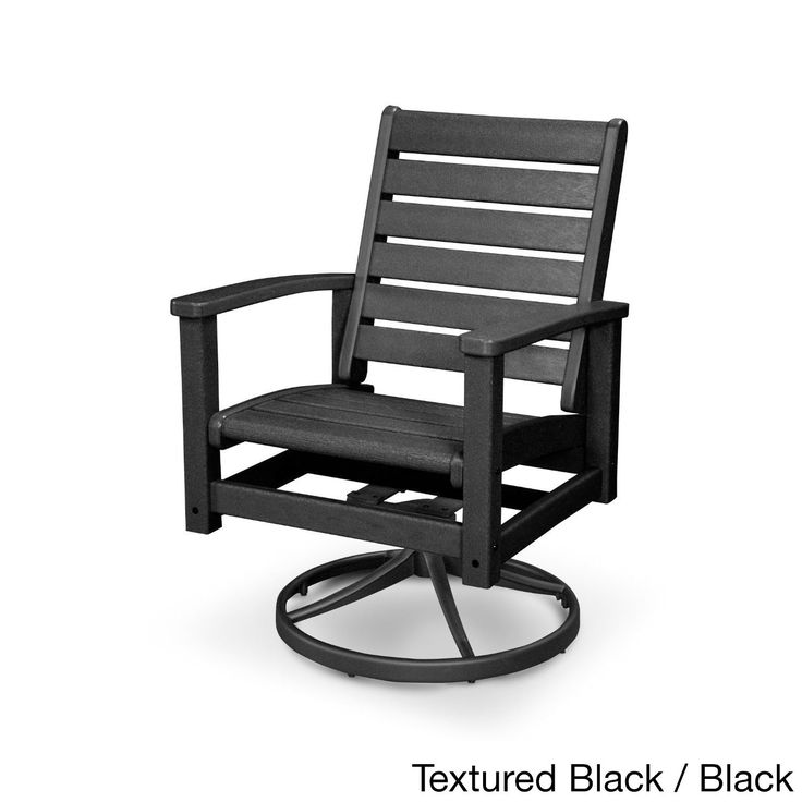 Polywood Signature Aluminum And Polywood Swivel Rocker Chair (Black), Patio  Furniture