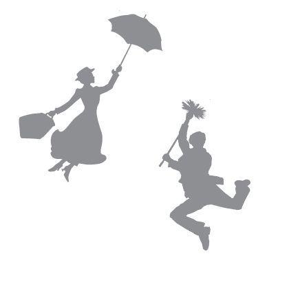 Mary Poppins y Bert, siluetas.