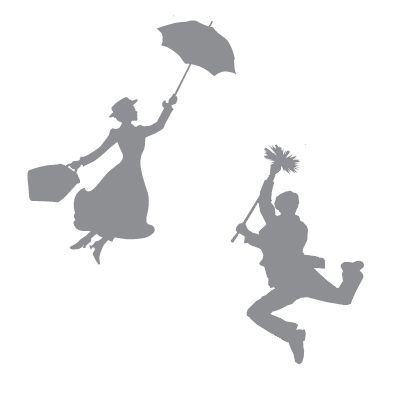 Mary Poppins & Bert Silhouettes these would be cool painted on toms