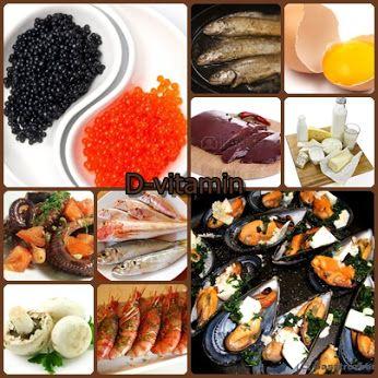D-vitamint tartalmazó élelmiszerek A D-vitamin – az A-vitaminhoz hasonlóan – a gombákat és a kakaóbabot kivéve csak állati eredetű élelmiszerekben található meg. Kiváló D-vitaminforrásnak számítanak a tengeri és édesvízi halak, a tenger gyümölcsei ( akár kagyló,kaviár,rák,polip), a különféle tejtermékek (tej, vaj), a belsőségek, azok közül is elsősorban a máj, valamint a tojássárgája.