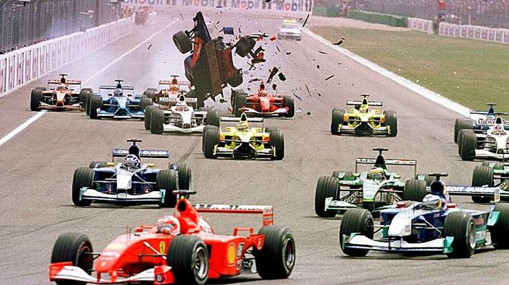 Luciano Burti made a mess of the take-off procedure after hitting the back of Michael Schumacher's slow Ferrari at the start of the 2001 German GP #F1 #Formula1 #GermanGP #MichaelSchumacher #ScuderiaFerrari #LucianoBurti