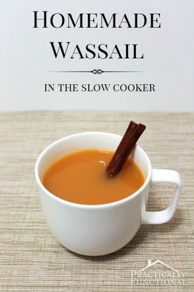 Homemade Wassail In The Slow Cooker: This warm, tangy cider recipe is the perfect holiday party drink because you can make it in large batches!
