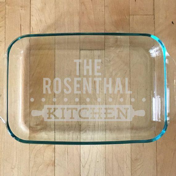 Housewarming Gift Personalized Baking Dish Glass by ShopPsychobaby