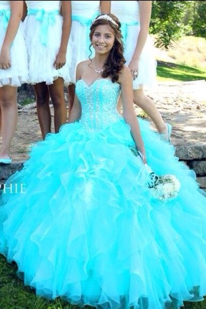 dress jewels sparkles aqua prom dress long dress poofy