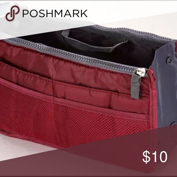 Handbag Organizer - Wine Purse / handbag Organizer. 4 outer pockets on both sides. Open center pouch with 2 zippered pouches on either side. Total dimensions 4d x 7h x 11w. Bags #WinePurse