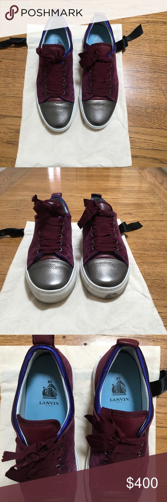 Lanvin Sneakers Lanvin Sneakers in GREAT condition! Only worn a handful of times. Purchased at Harvey Nichols in 2016.  Size 10 Women's Original Price $695  Selling for $400 obo Only a few scuffs on the sole but suede and leather on the shoe in great condition. Comes with original dust bag Lanvin Shoes Sneakers