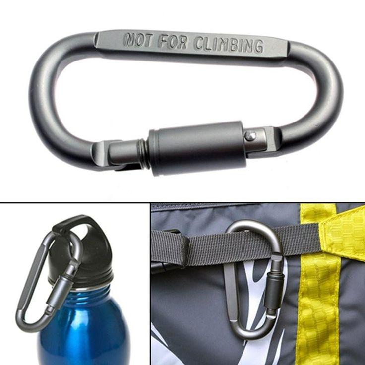 D-Shaped Camping Carabiner Aluminum Alloy Screw Dark grey Lock Hook Clip Key Ring Outdoor Camping Climbing Tools Accessories
