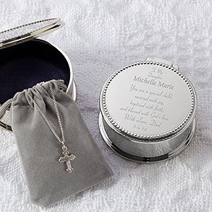 Baby's First Cross & Engraved Keepsake Box