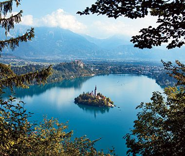 Slovenia  This small Alpine town in northwestern Slovenia rings the shore of Lake Bled, whose glacial blue waters surround a tiny island a...