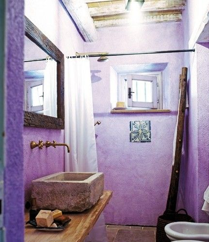 Bathroom. Purple. Stone sink. Stunning Country House in Tuscany, country house design Italy