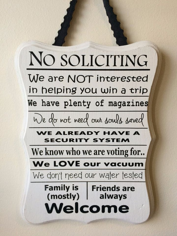 New -Wood Funny, No Soliciting Sign Privacy, door, front porch White & Black