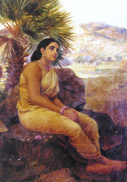 vintageindia:    Sitas Vanavas/Sitas Exile by Raja Ravi Varma (1848 - 1906)