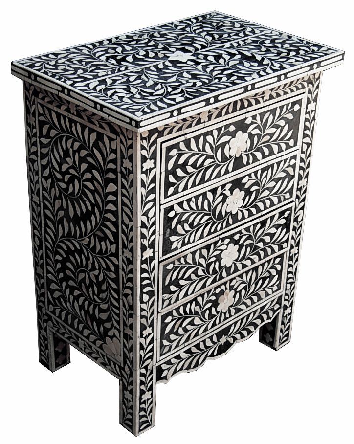 Bone Inlay 4 Drawer Bedside Cabinet.