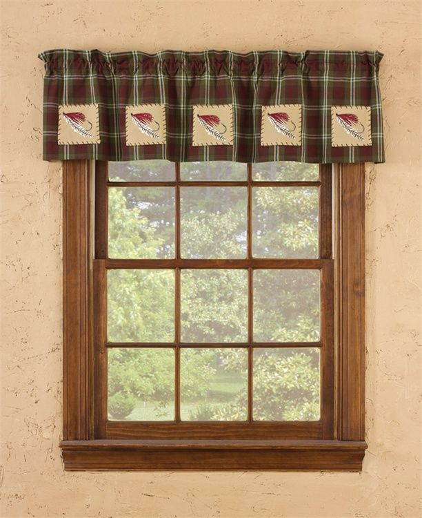 Fly Fishing Lined Patch Curtain Valance 60 Quot X 14 Quot Rustic