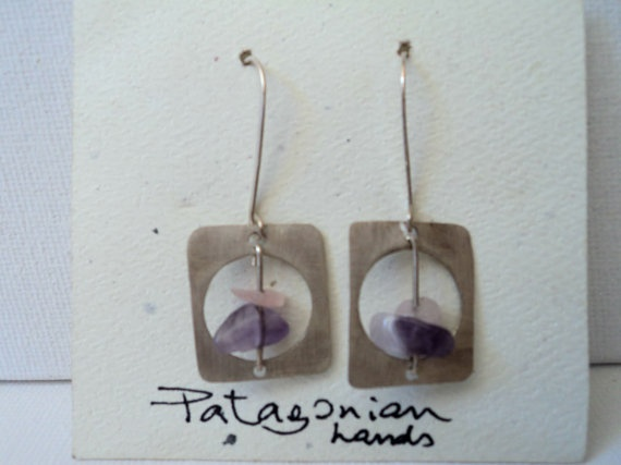 Handmade Square Silver Earrings with  Quartz by PatagonianHands, $30.00