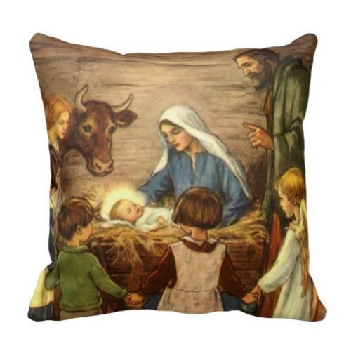 Vintage Christmas Pillow Case Religious Nativity With Baby