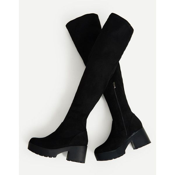 SheIn(sheinside) Side Zipper Over Knee Platform Boots ($48) ❤ liked on Polyvore featuring shoes, boots, chunky-heel boots, over-knee boots, winter rubber boots, thigh high boots and black platform boots