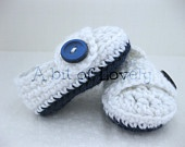 Baby Boy Booties / Shoes - Blue & White Crochet  - (newborn - 12 months) - photo prop - children. cute. baby shower gift. handmade. Christening. blessing. baptism. A bit of Lovely on Etsy.