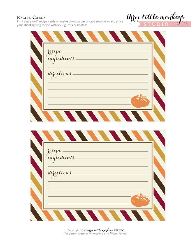 17 Best images about RECIPE CARDS & TEMPLATES on Pinterest ...