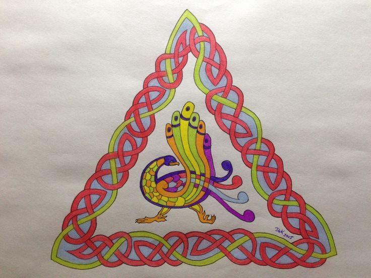 Een Keltische Pauw naar aanleiding van een workshop.