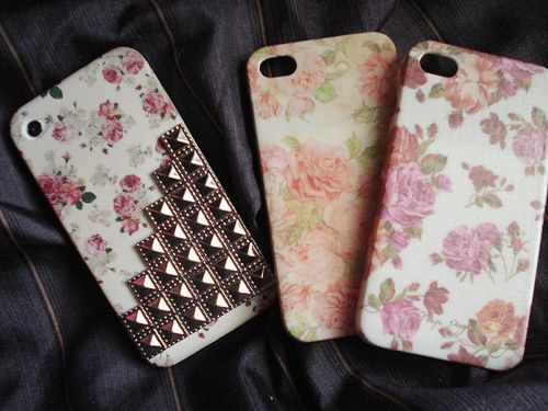 Floral pattern and studs iPhone cover cases