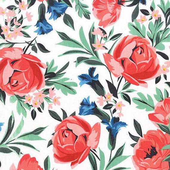 Michael Miller Bed of Roses Coral fabric  1 by DownSouthHippie