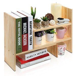 Amazon.com : Adjustable Freestanding Natural Wood Desktop Storage Organizer Display Shelf Rack / Counter Top Bookcase : Office Products