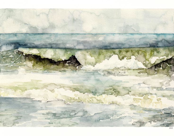 "Ocean Wave Painting - Print from my Original Watercolor Painting, ""High Tide"", Beach Decor, Beach, Blue, Sea, Waves, Ocean Decor door TheColorfulCatStudio op Etsy https://www.etsy.com/nl/listing/188979665/ocean-wave-painting-print-from-my"