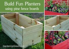 Did you know that building planter boxes can be fun and easy?  Use new Pine Fence Boards to create planters boxes.