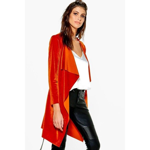 Boohoo Ruby Velvet Waterfall Belted Jacket (1,055 INR) ❤ liked on Polyvore featuring outerwear, jackets, longline jacket, velvet bomber jacket, waterfall jacket, white jacket and white duster coat