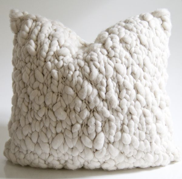 Giant alpaca chunky knit pillow