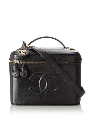 CHANEL Women's Caviar Leather Rare Beauty Travel Case, Black