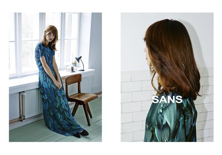 maxi dress, feathers, spring/summer 2015, SANS campaign by Bartek Wieczorek