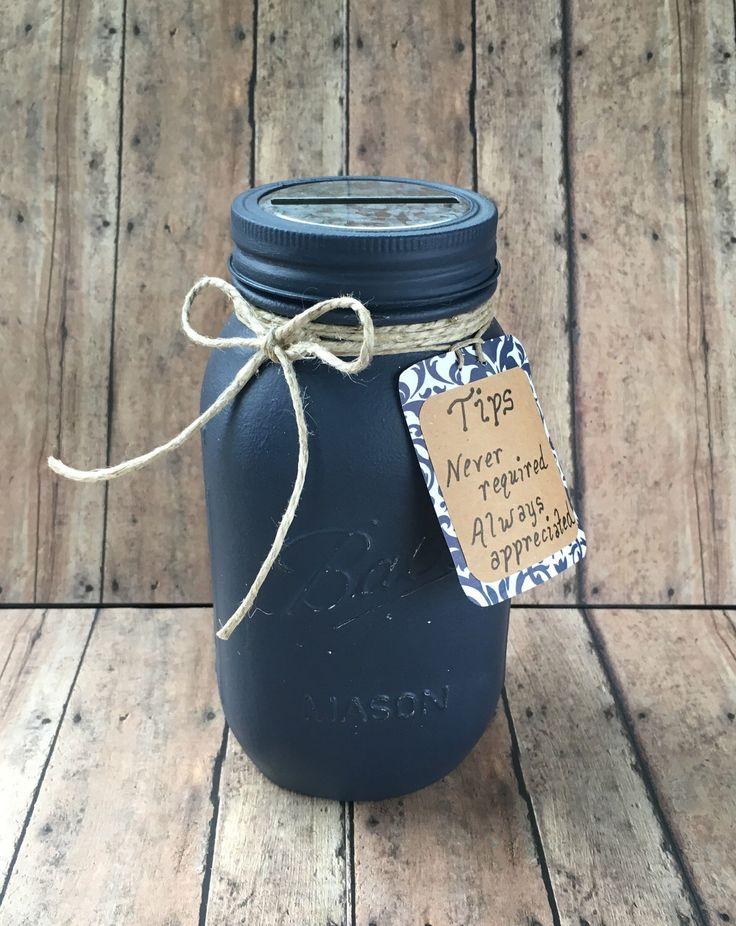 Coin Jar, Tip Jar, Spa Tip Jar, Bakery, Ice Cream Shop Tip Jar, 16 Colors, Midnight Blue Shown ~ Quart Mason Jar by NewRetroCottage on Etsy https://www.etsy.com/listing/494050194/coin-jar-tip-jar-spa-tip-jar-bakery-ice