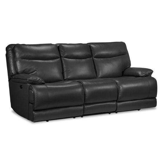 Living Room Furniture - Lanette Power Reclining Sofa - Smoke Grey