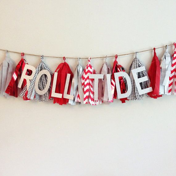 Tissue Tassel Garland || University of Alabama, Roll Tidd, Houndstooth|| Team Spirit Tailgating Football Party || Customize for your team! on Etsy, $27.00