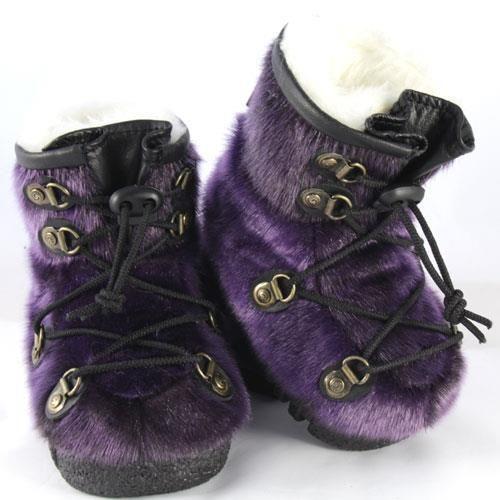 Bottes d'hiver pour bébé en #fourrure de loup-marin violet / #Baby #winter boots made in seal violet #fur #madeincanada