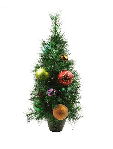 Felices Pascuas Collection 2' Potted Pre-Decorated Multi-Color Ball Ornament Artificial Christmas Tree - Unlit