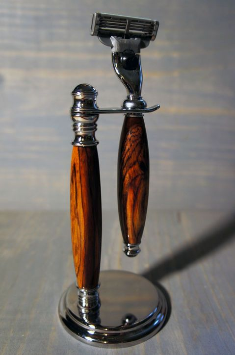 Wooden razor handle and chrome stand for Andy- fits Gillette Mach3 blades and also Venus blades for me!  scoutmob.com  $68