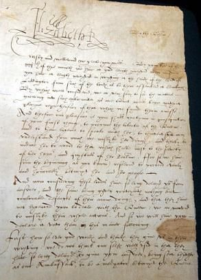 A letter by Britain's Queen Elizabeth I expressing her outrage at the imprisonment of Mary Queen of Scots