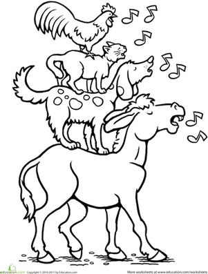 First Grade Fairy Tales Animals Worksheets: Color the Bremen Town Musicians