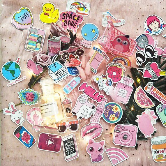 Tumblr Girl Pink Power Sticker Pack Cute Vinyl Laptop Stickers