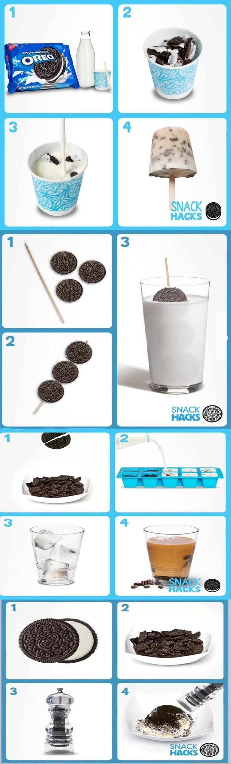 Oreo Snack Hacks cookies chocolate diy recipe oreos recipes ingredients instructions desert recipes easy recipes snacks desert recipe kids recipes no bake