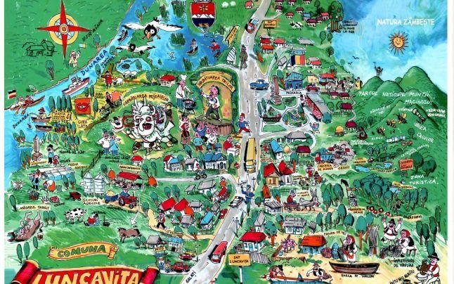 Comuna Luncaviţa: hartă turistică umoristică de prezentare a atracţiilor