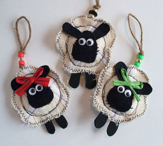 SHABBY CHIC SHEEP Christmas Decorations. Set of 3. Irish Fabric Hanging Ornament.  Ireland Holiday Decoration.
