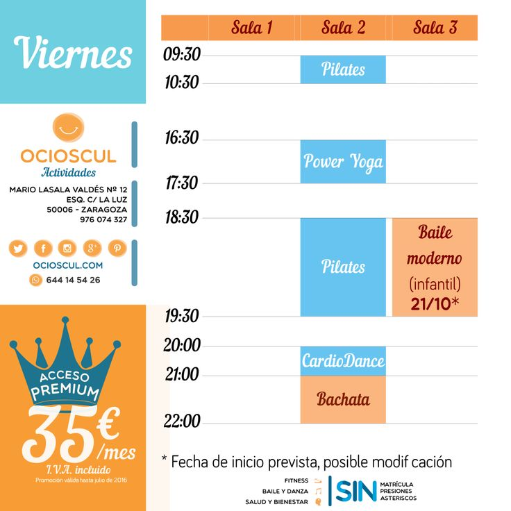 Buenos Días #Zaragoza Actividades de hoy viernes: #PowerYoga #Pilates #Cardiodance #Bachata Pronto más actividades