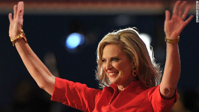 Ann Romney, Republican presidential candidate Mitt Romney's wife, greets a crowd of supporters on Tuesday of the RNC